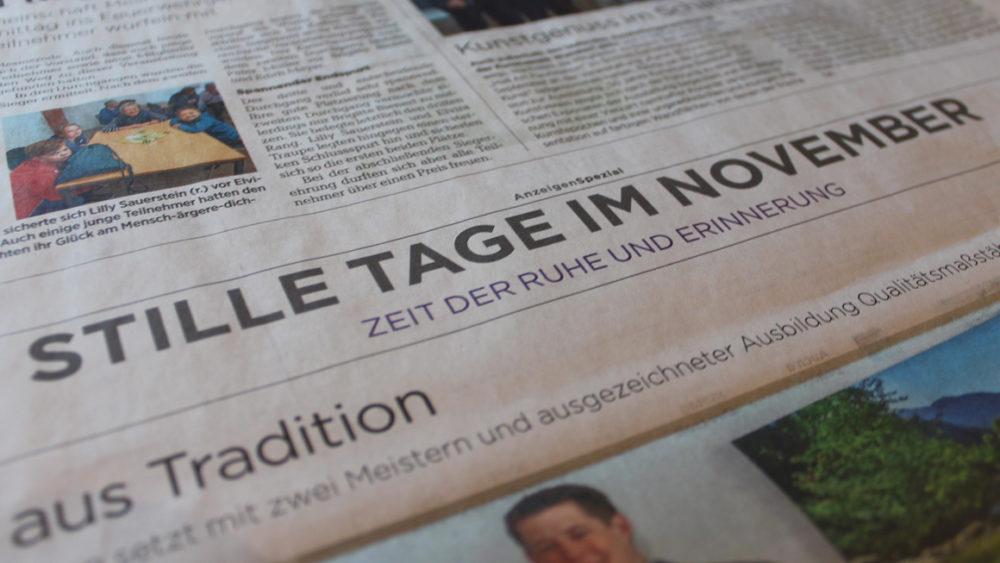 Zeitungsartikel Stille Tage im November